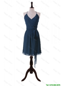 Cheap Brand New Halter Top Sashes Short Prom Dresses in Navy Blue