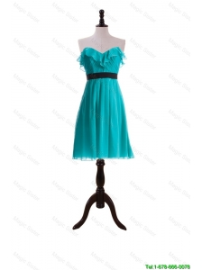 Cheap New Style Ruffles and Belt Short Prom Dresses in Turquoise