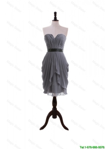Cheap Simple Column Sweetheart Prom Dresses with Belt in Grey
