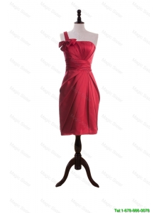Cheap Wonderful Bowknot and Ruching Short Prom Dresses in Wine Red