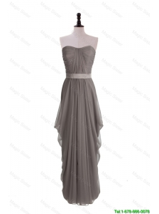 Perfect Discount Grey Long Prom Dresses with Ruching and Belt