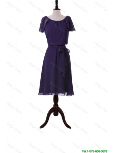 Perfect Simple Short Purple Prom Dresses with Sashes and Ruffles