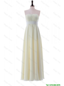 Pretty Empire Strapless Belt Cheap Prom Dresses with Ruching