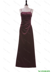 Pretty Simple Spaghetti Straps Ruching Long Prom Dresses in Burgundy