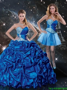 2016 Spring Perfect Sweetheart Detachable Quinceanera Dresses with Beading and Pick Ups