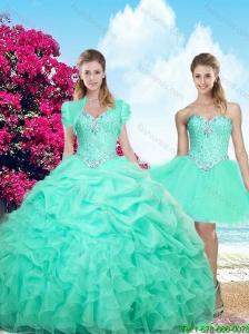 2015 Fall Top Seller Sweetheart Beaded Apple Green Quinceanera Dresses with Ruffles