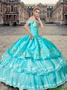 Beautiful Off the Shoulder Aqua Blue Quinceanera Dresses with Ruffled Layers