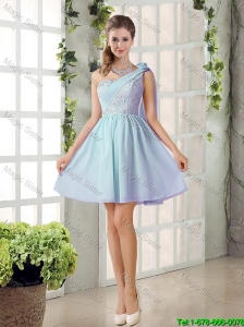 2016 Custom Made A Line One Shoulder Lace Bridesmaid Dresses for Party