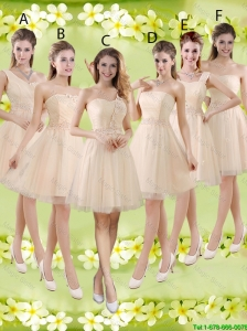 Sturning Knee Length Champagne Bridesmaid Dresses with Appliques and Belt