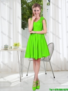 A Line Hand Made Flowers Bridesmaid Dresses in Spring Green