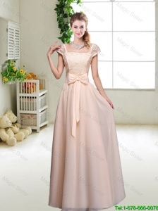 Cheap Laced Square Bridesmaid Dresses with Bowknot