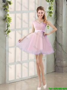 Perfect V Neck Strapless Short Bridesmaid Dresses with Bowknot
