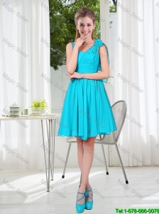 Short Straps Custom Made Bridesmaid Dress in Aqua Blue