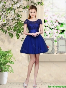 Sturning Bateau Short Royal Blue Bridesmaid Dresses with Cap Sleeves