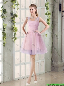 2016 Fall New A Line Straps Bridesmaid Dresses with Hand Made Flowers