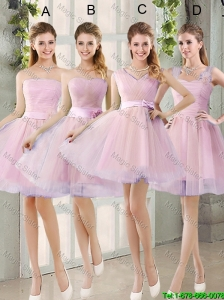 2016 Summer Short Ruching Bridesmaid Dresses with Belt