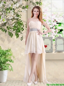 Affordable High Low Sweetheart Bridesmaid Dresses in Champagne