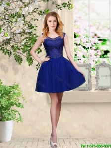 Decent Short Appliques Scoop Bridesmaid Dresses in Royal Blue