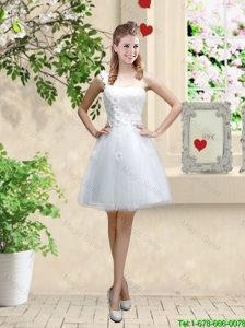 Discount One Shoulder Appliques Bridesmaid Dresses in White