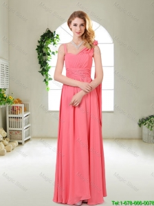 Luxurious Asymmetrical Bridesmaid Dresses in Watermelon Red