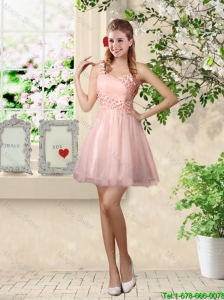 Affordable A Line One Shoulder Appliques Bridesmaid Dresses in Pink