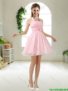 Latest Halter Top Chiffon Bridesmaid Dresses with Mini Length