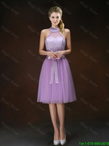 Popular Knee Length Bridesmaid Dresses with Halter Top