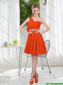 Rust Red One Shoulder Prom Dresses with Beading and Belt