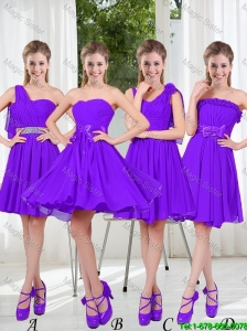 2016 Fall A Line Bowknot Prom Dresses in Purple