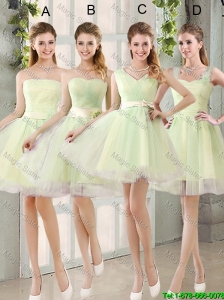 Custom Made Mini Length Prom Dresses in Yellow Green