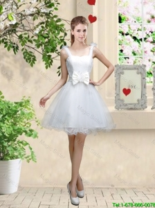 Elegant Straps Prom Dresses with Bowknot and Hand Made Flowers