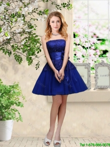 Popular Hand Made Flowers Royal Blue Prom Dresses with Appliques