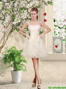 Suitable Straps Appliques and Belt Prom Dresses with Lace Up