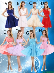2016 Elegant Short Belt Prom Dresses with V Neck