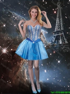 Exquisite Sweetheart Beaded Blue Prom Dresses with Mini Length