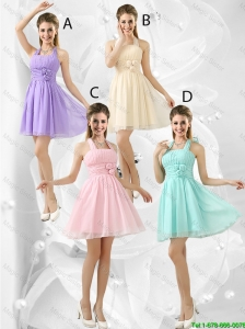 Luxurious Short Halter Top Prom Dresses with Ruching