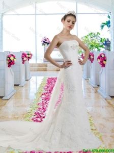 Beautiful 2016 Mermaid Laced Wedding Dresses with Watteau Train