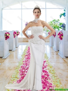 Elegant Strapless Laced Wedding Dresses with Court Train