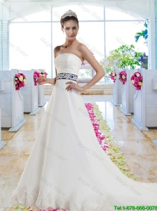Fabulous Laced and Belt Wedding Gowns with Strapless