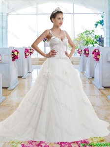 Luxurious Straps Beaded Hand Made Flowers Bridal Gown
