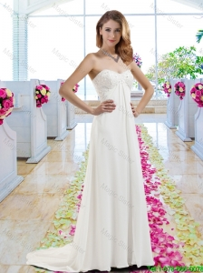 New Arrivals Empire Brush Train Wedding Gowns with Appliques