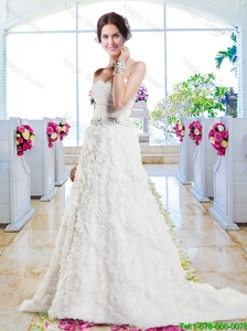 Affordable A Line Sweetheart Wedding Gowns with Appliques