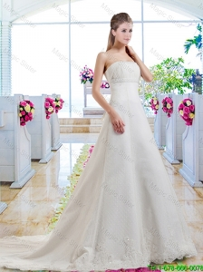 Beautiful A Line Strapless Bridal Dresses with Appliques