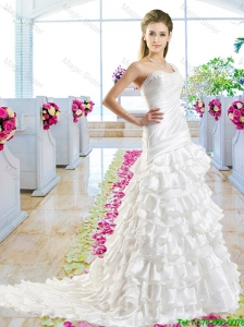 Beautiful One Shoulder Bridal Gowns with Ruffled Layers
