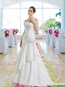 Cheap Hand Made Flowers Bridal Dresses with Appliques