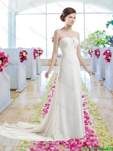Cheap Strapless Court Train Wedding Dresses with Beading