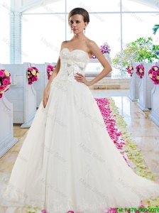 Cheap Sweetheart Wedding Dresses with Appliques and Bowknot