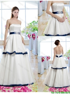 Classical A Line Strapless Bridal Gowns with Belt