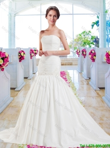 Classical Appliques Mermaid Wedding Gowns with Court Train