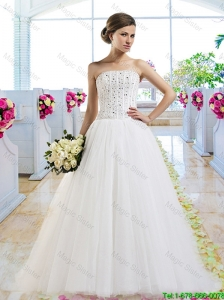 Elegant A Line Brush Train Wedding Dresses with Beading